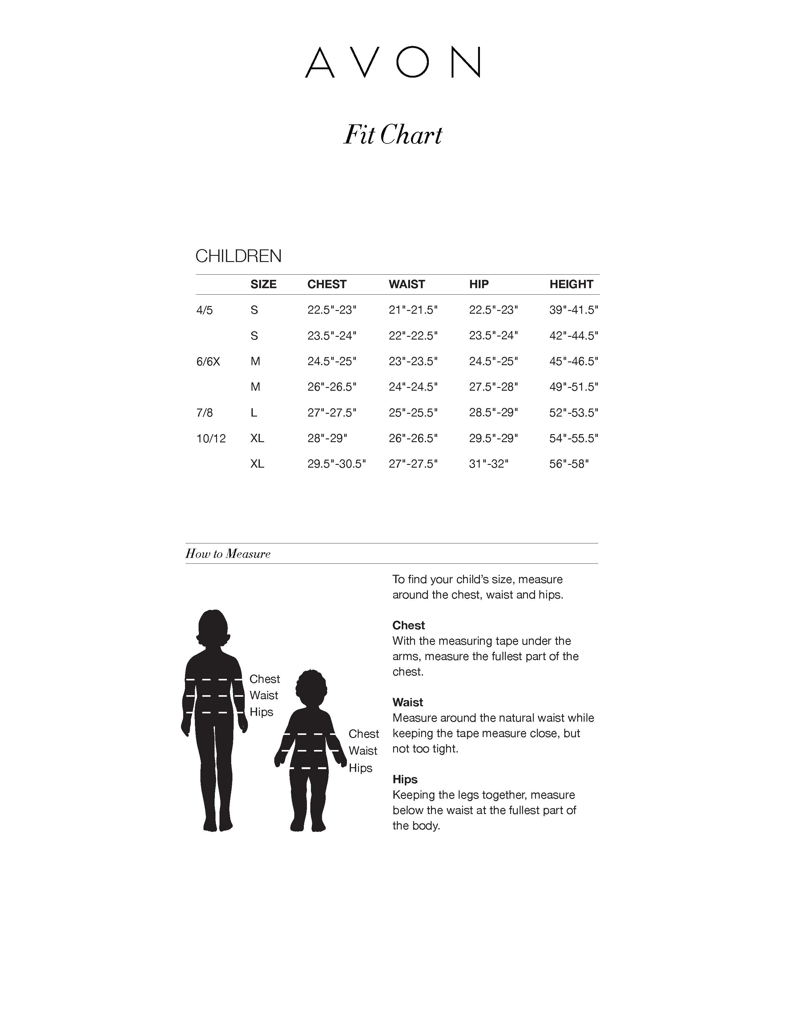 New Avon USA 2018 Childrens Fit Chart