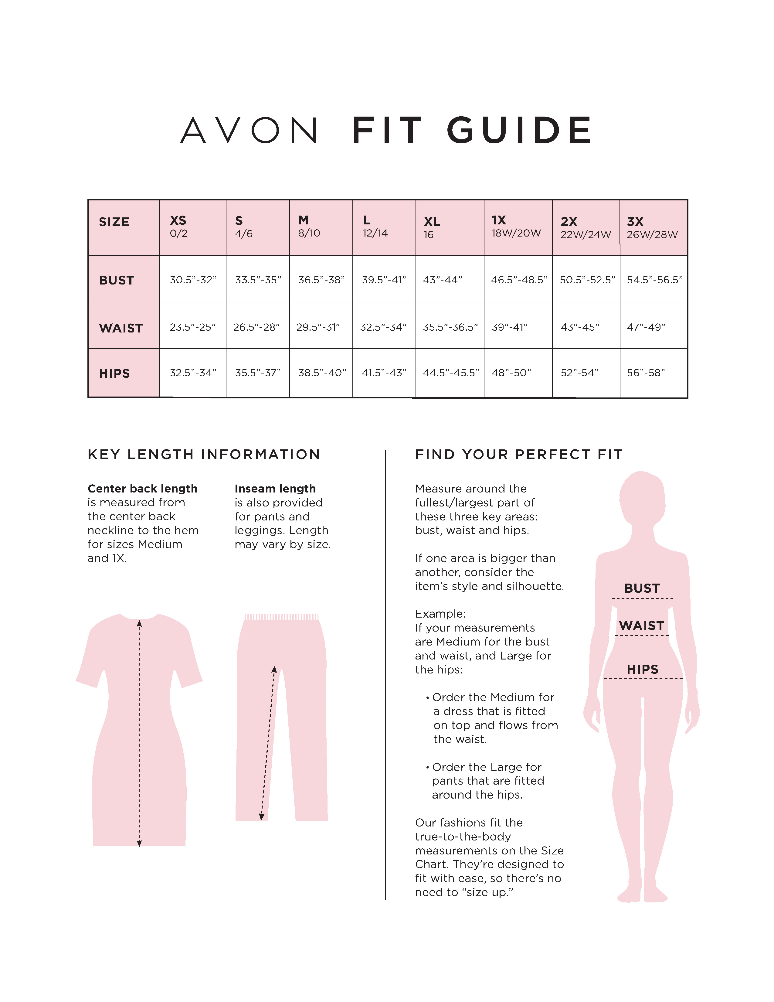 Avon Size Chart Fit Guide